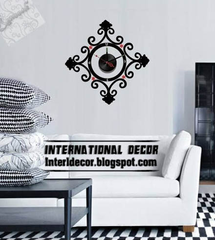 Modern wall decal clock shapes for living room   International   modern wall decal clock black for living room  modern wall sticker clock. Clocks For Living Room. Home Design Ideas