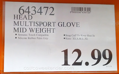 Deal for the Head Digital Touch Running Gloves at Costco