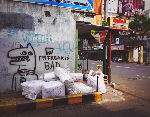 Street Art of Yogyakarta along Jalan Solo- I'm freaking bad