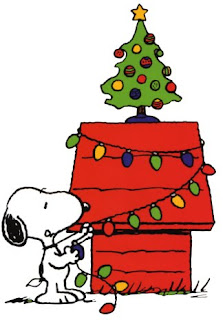 Christmas tree decoration of snoopy with baubles and lighting