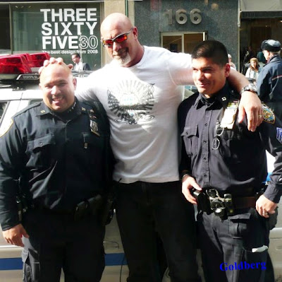 Goldberg with cops