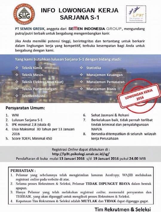 Info Lowongan Kerja Sarjana S1 PT Semen Gresik