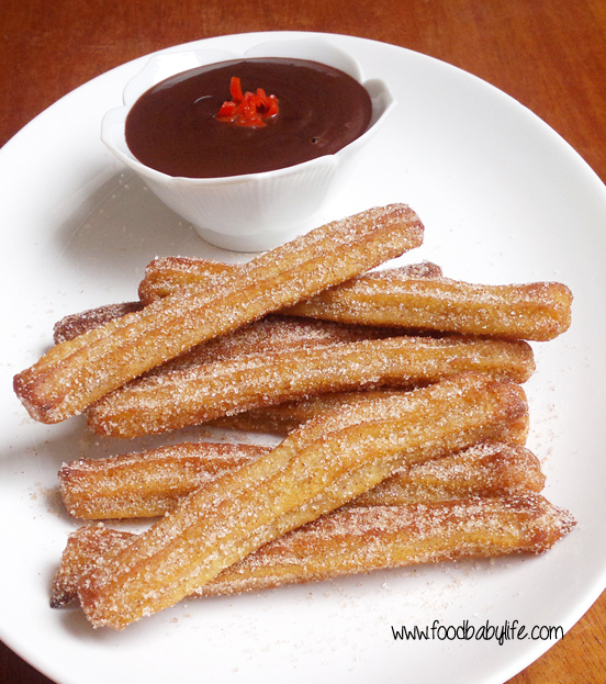 Baked Churros with Chili Chocolate Sauce © www.foodbabylife.com