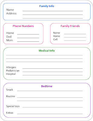 Free printable sheet with space for all pertinent info for a babysitter