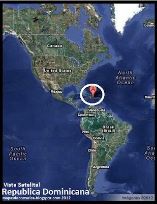 Mapa de Republica Dominicana en América, Vista Satelital