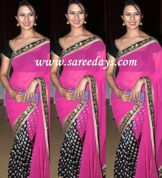 Latest saree designs divyanka tripathi in pink and black half and checkout divyanka tripathi in pink and black half and half saree with work border and paired with matching short sleeves blouse altavistaventures Image collections