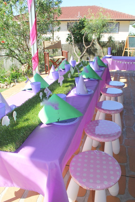 fairy party supplies and decoration, fairy birthday invitations, printables, kids, grass table runner, mushroom stool, party props, printables