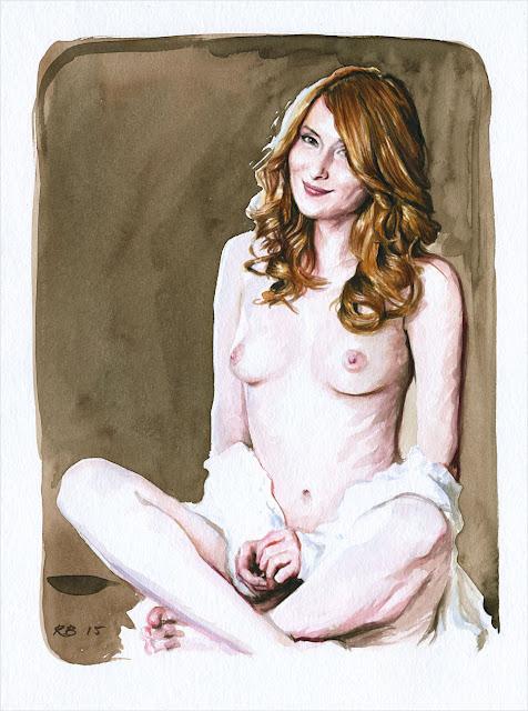 René Bui - Etude de nu à l'aquarelle 150150 - 2015