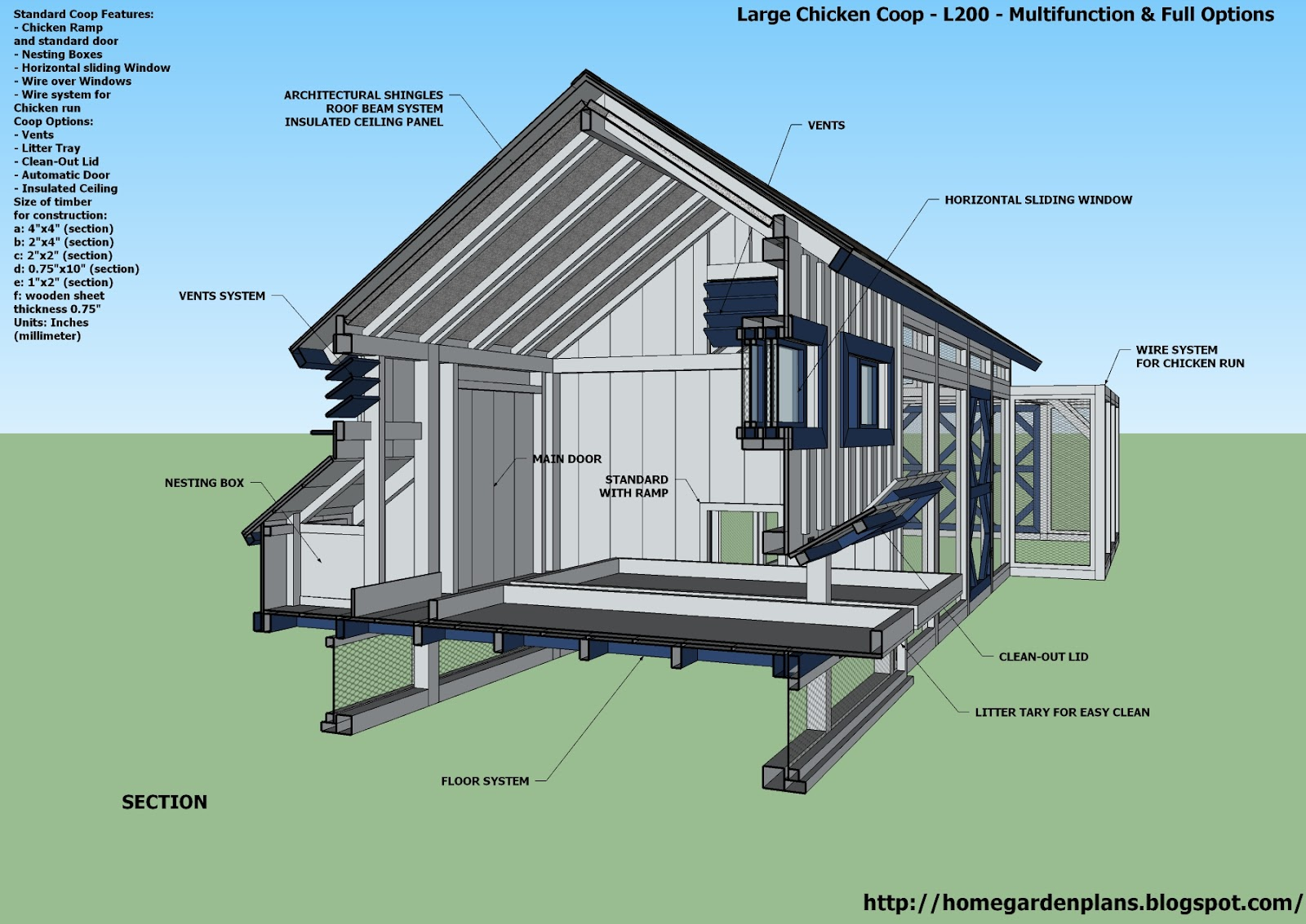 home garden plans  L   Large Chicken Coop Plans   How to Build    home garden plans  L   Large Chicken Coop Plans   How to Build a Chicken Coop    Multifunction  amp  Full Options   Free Chicken Coop Plans