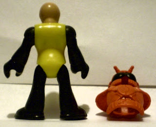 Back of unknown bug man action figure with helmet off