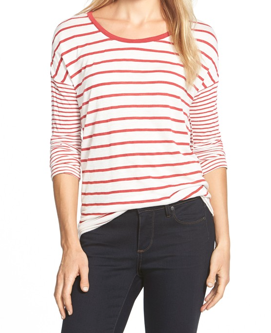 Fall fashion - striped top with jeans