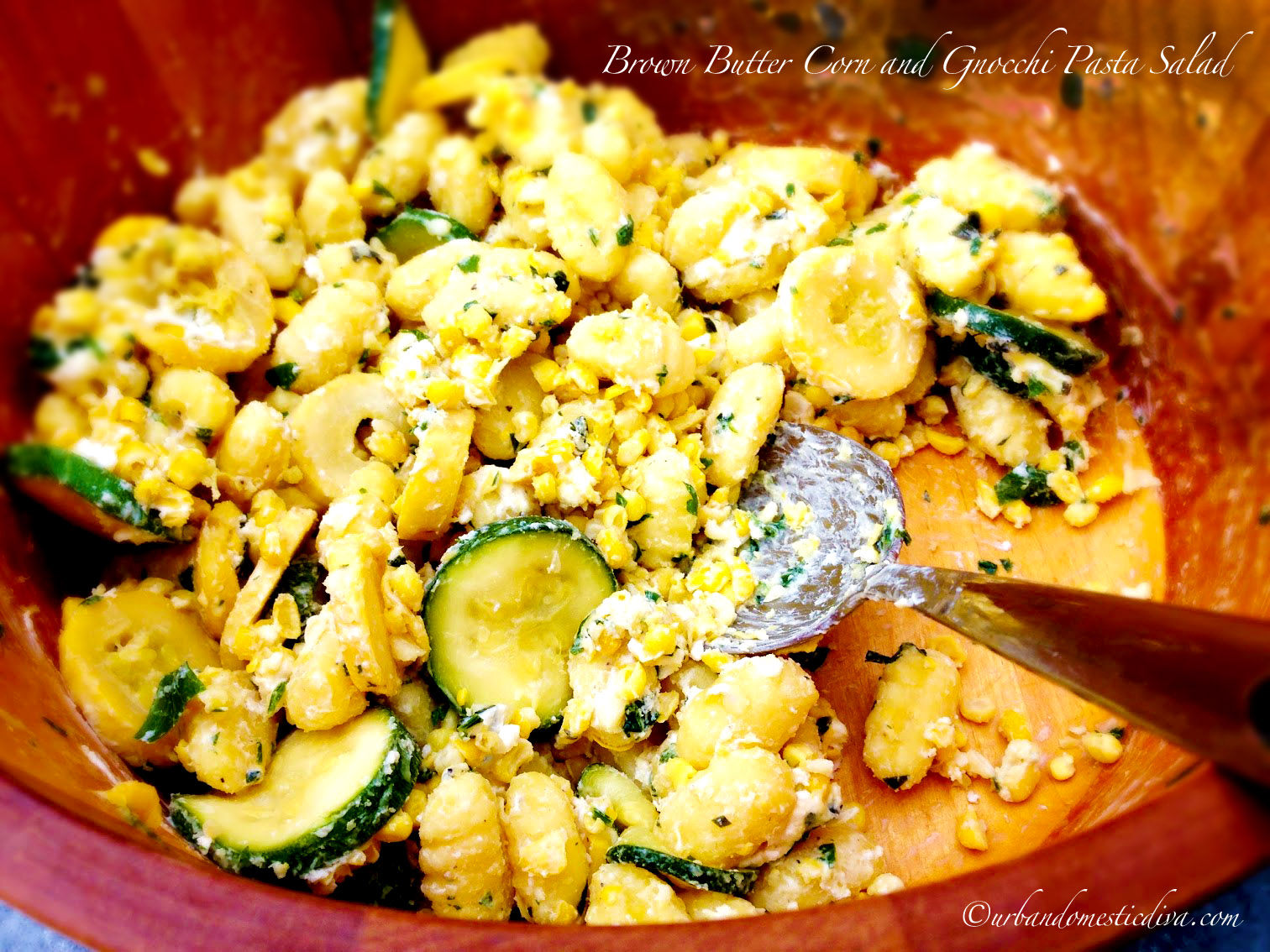 ... pasta salads. Brown butter? GNOCCHI!? HONEY GOAT CHEESE? Sweet corn