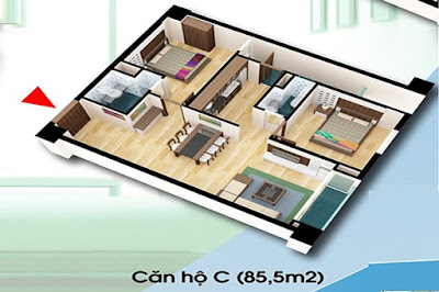 Thiết Kế Căn Hộ C Diện Tích 85.5 m2 - Chung Cư D2CT2 Linh Đàm