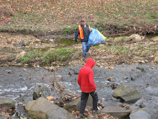Picking up Trash in the Little Falls Creek, Bethesda MD