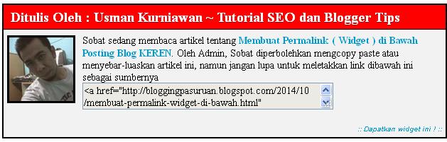 Membuat Permalink ( Widget ) di Bawah Posting Blog KEREN