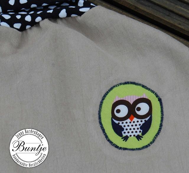 Pumphose Ballonhose Sarouelhose Baby Kleinkind Cord beige Eulen grün Mitwachsen handmade Bündchen 80 86