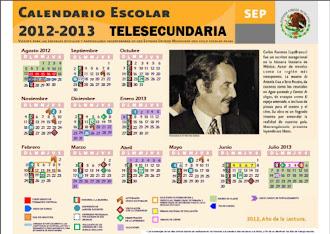 Calendario Escolar 2012-2013. TELESECUNDARIAS