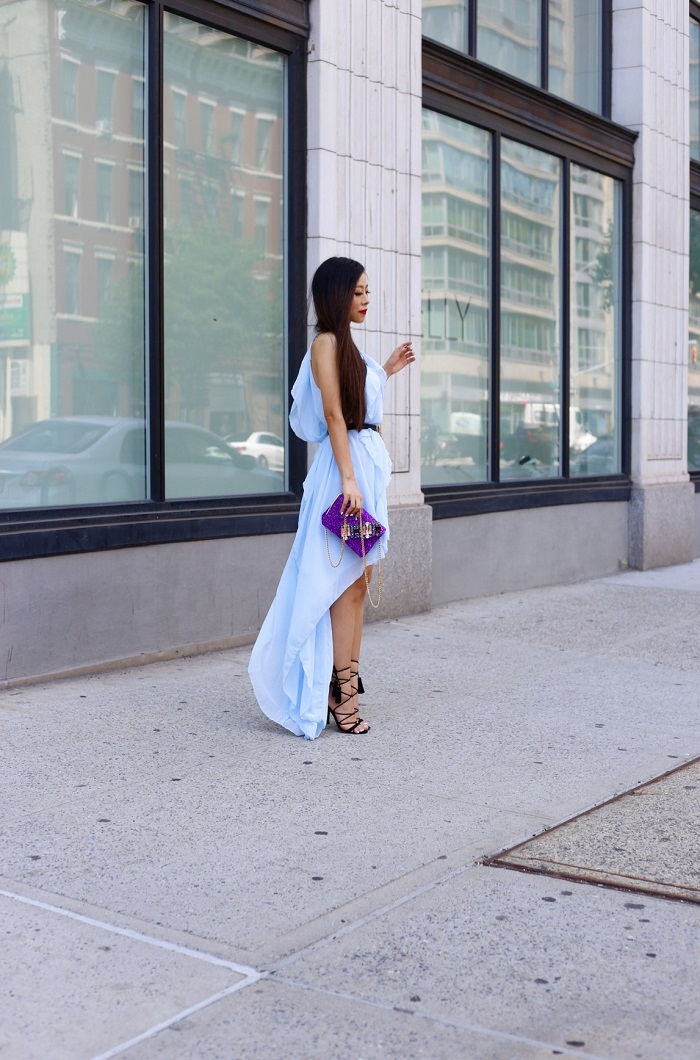 Gedebe mini v clutch, sephora monochrome menicure, she in blue ruffle high low dress, asos lace up sandals, fashion blog, baublebar statement necklace, style blog, street style, date night outfit, romantic, nyc, night out outfit