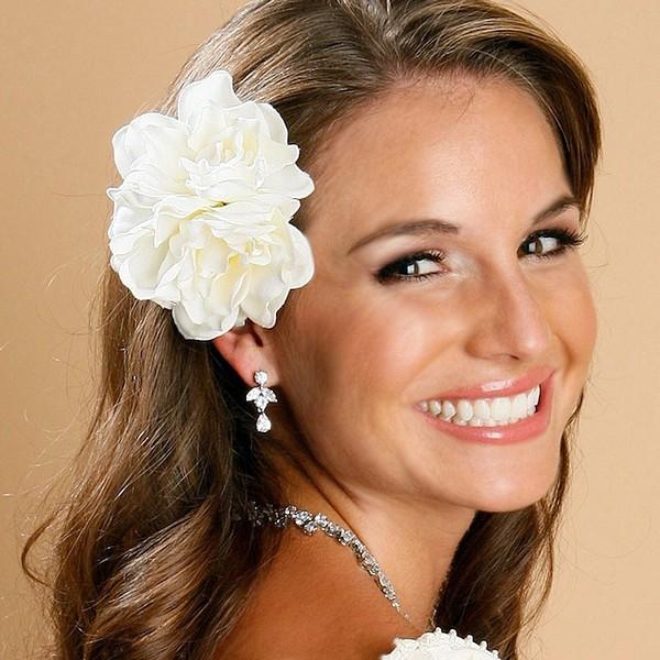 Ivory Gardenia Wedding Flower Hair Clip