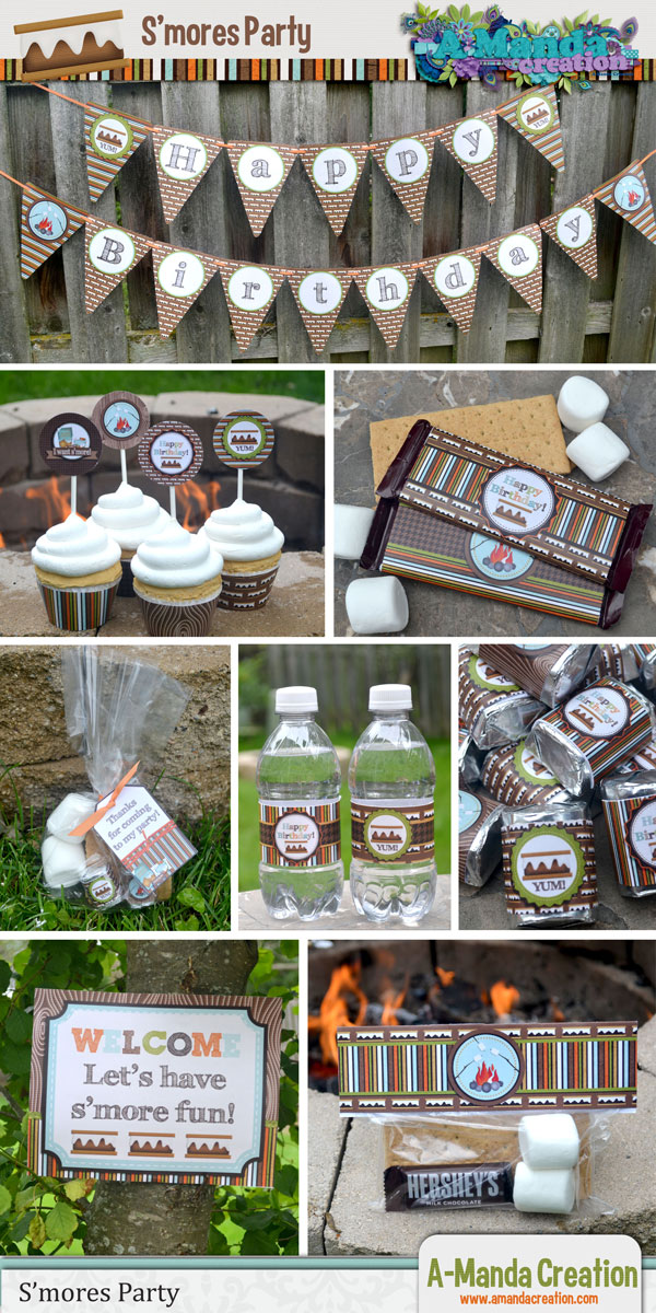 Smores Birthday Party Invitation And Bundle