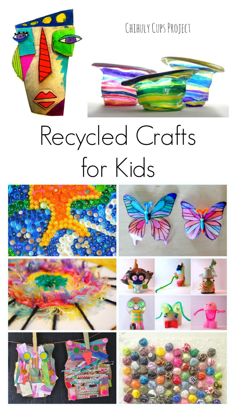 Recycled items into crafts for Recycling ideas for kids