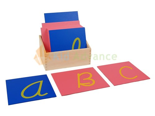 montessori cursive capital case sandpaper letters are available if needed to aid in this process