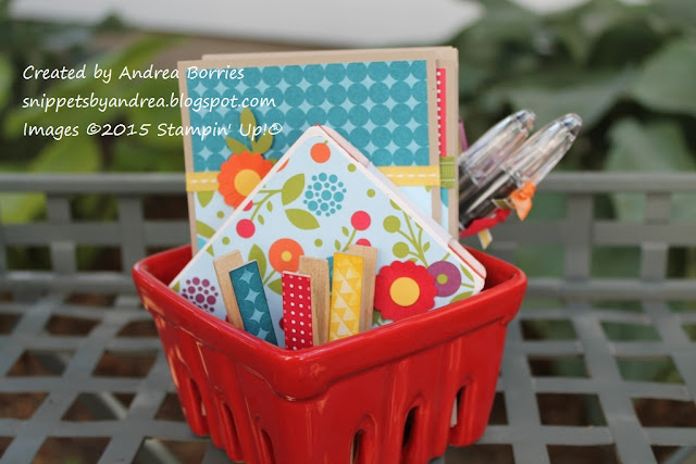 Stationery ensemble featuring Summer Smooches DSP in a red ceramic berry basket.