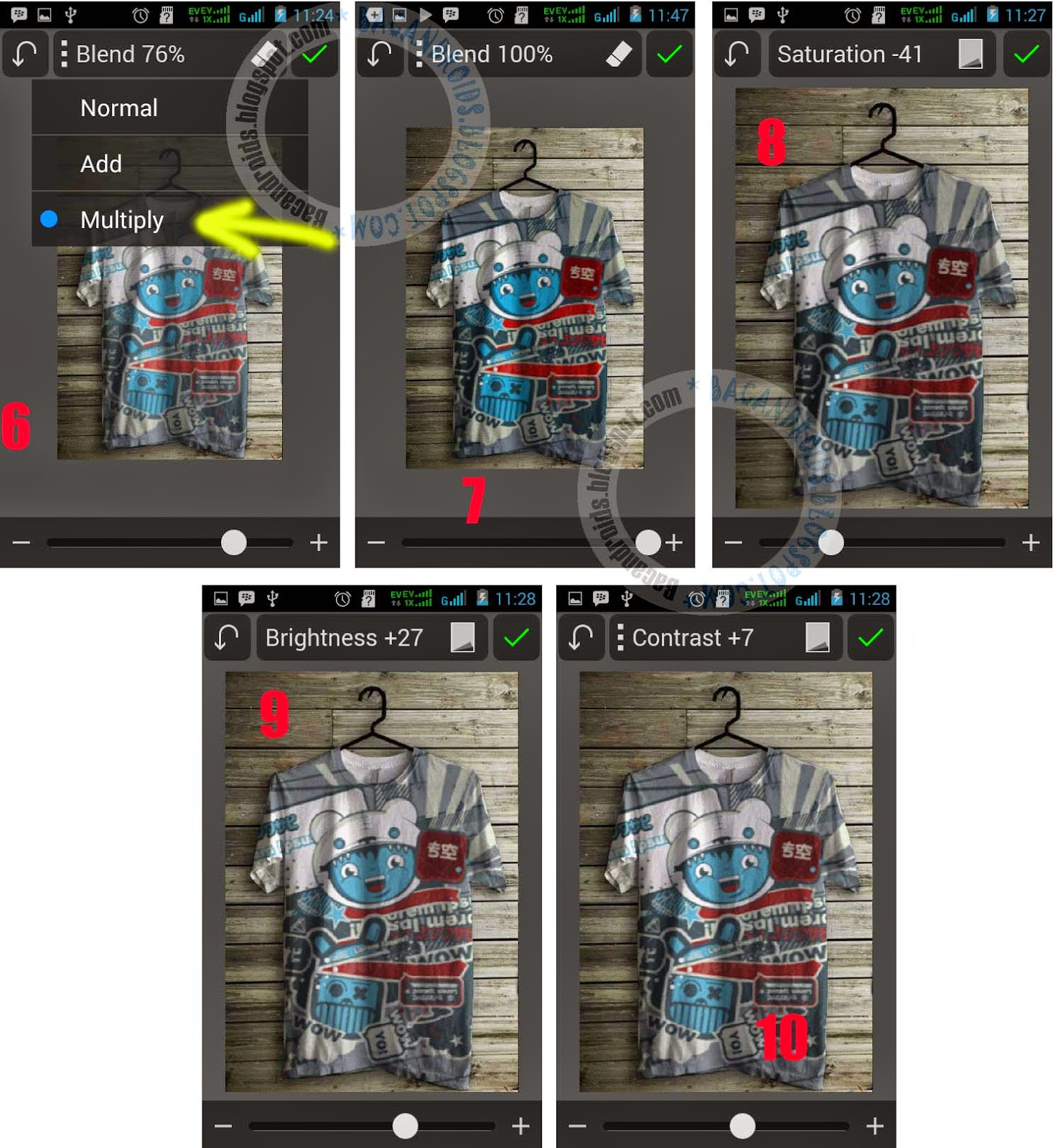 tutorial Foto membuat Desain Baju dengan PicSay Pro Android