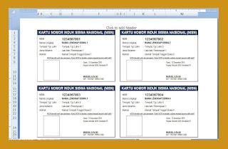 Aplikasi Sederhana Cetak Kartu NISN Excel