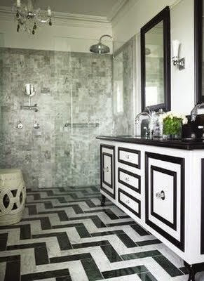 black white chevron floor in bathroom
