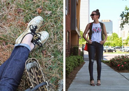 glitter keds, glitter sneakers, kate spade sneakers, studded vest, leather studded vest, british guards tank top, british guards shirt, j brand skinny jeans