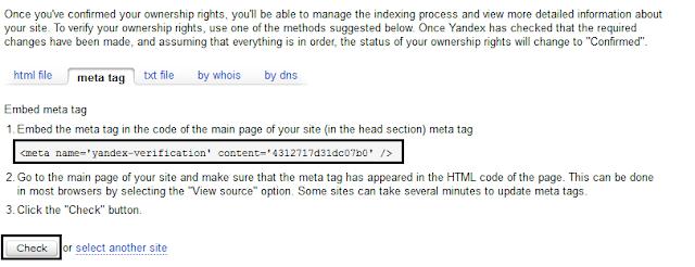 Meta tag yandex
