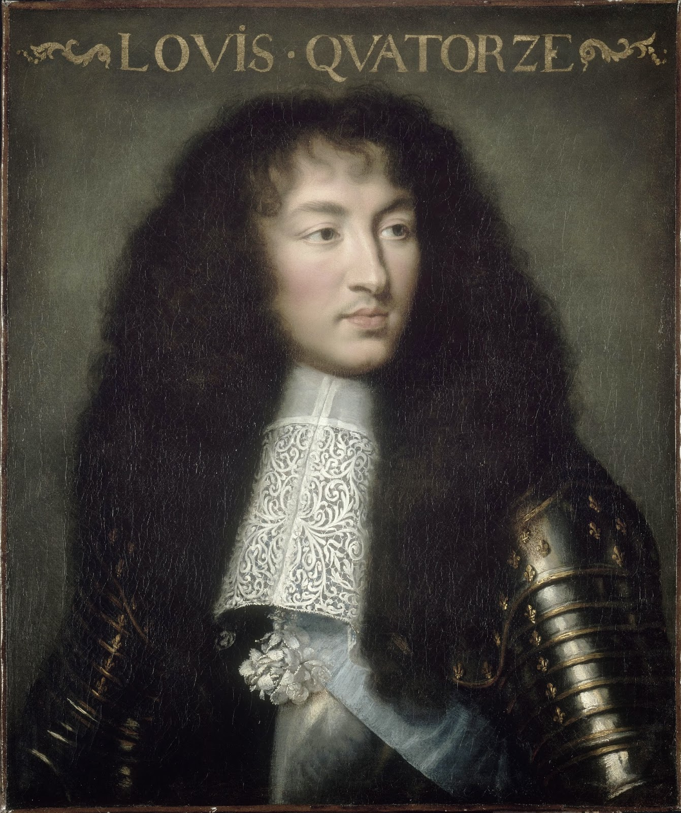 Detail From A Painting Of Loius XIV By An Charles Le Brun, 1661. At This  Point Of Life, Louis Had A Long And Beautiful Hair, But When