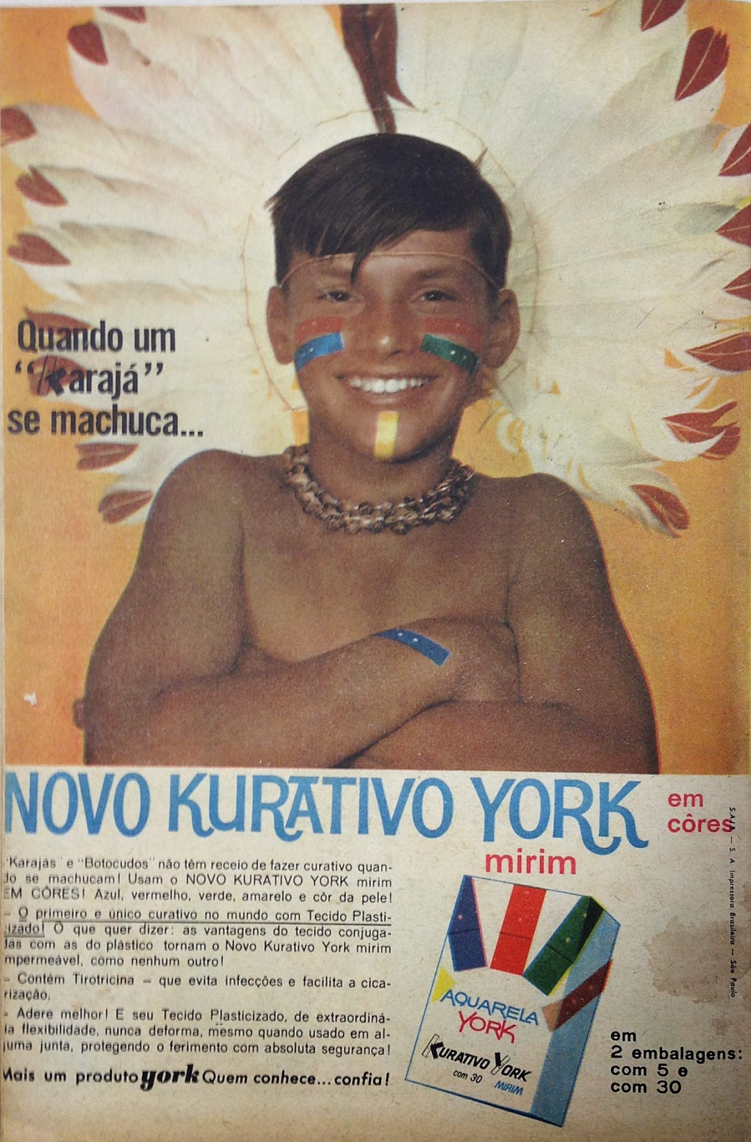 Campanha dos curativos York Mirim em 1962: brincadeira de índio.