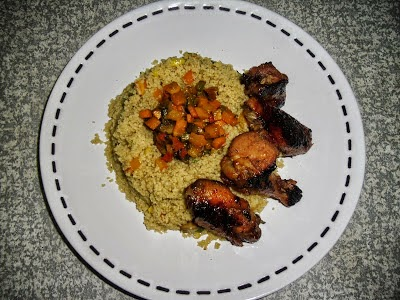 Vegetable CousCous and Honey Glazed Chicken Wings