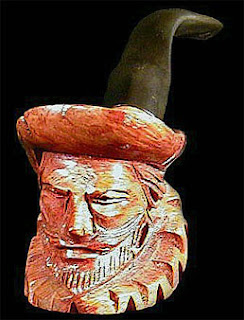 Hand Carved Briarwood Face Pipe