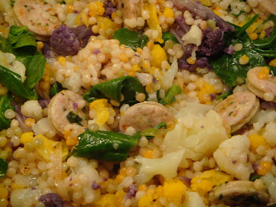 Tri-color cauliflower and Israeli couscous