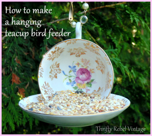 Teacup Bird Feeder Repurposing Idea - DIY Inspirado
