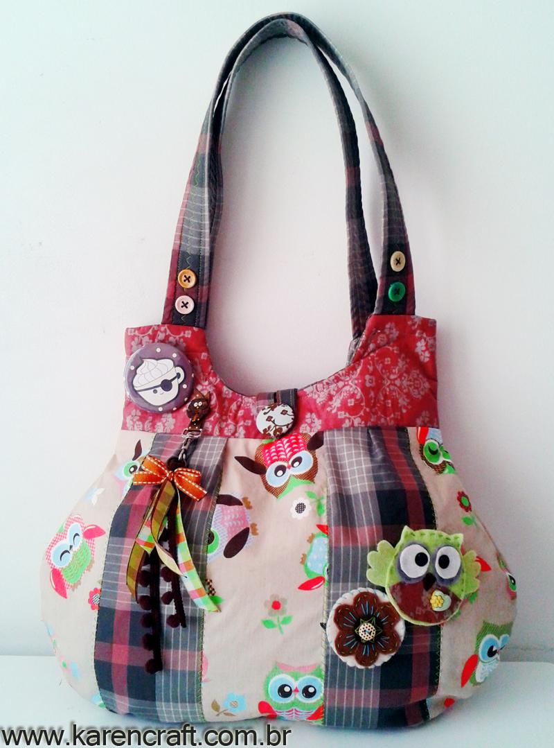 Bolsa De Tecido Decorada Com Coruja : Patchwork owl bag bolsa coruja em karencraft