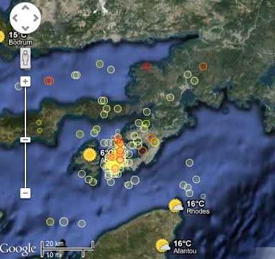 terremotos durante  diciembre de 2012 entre Turquía y Simi