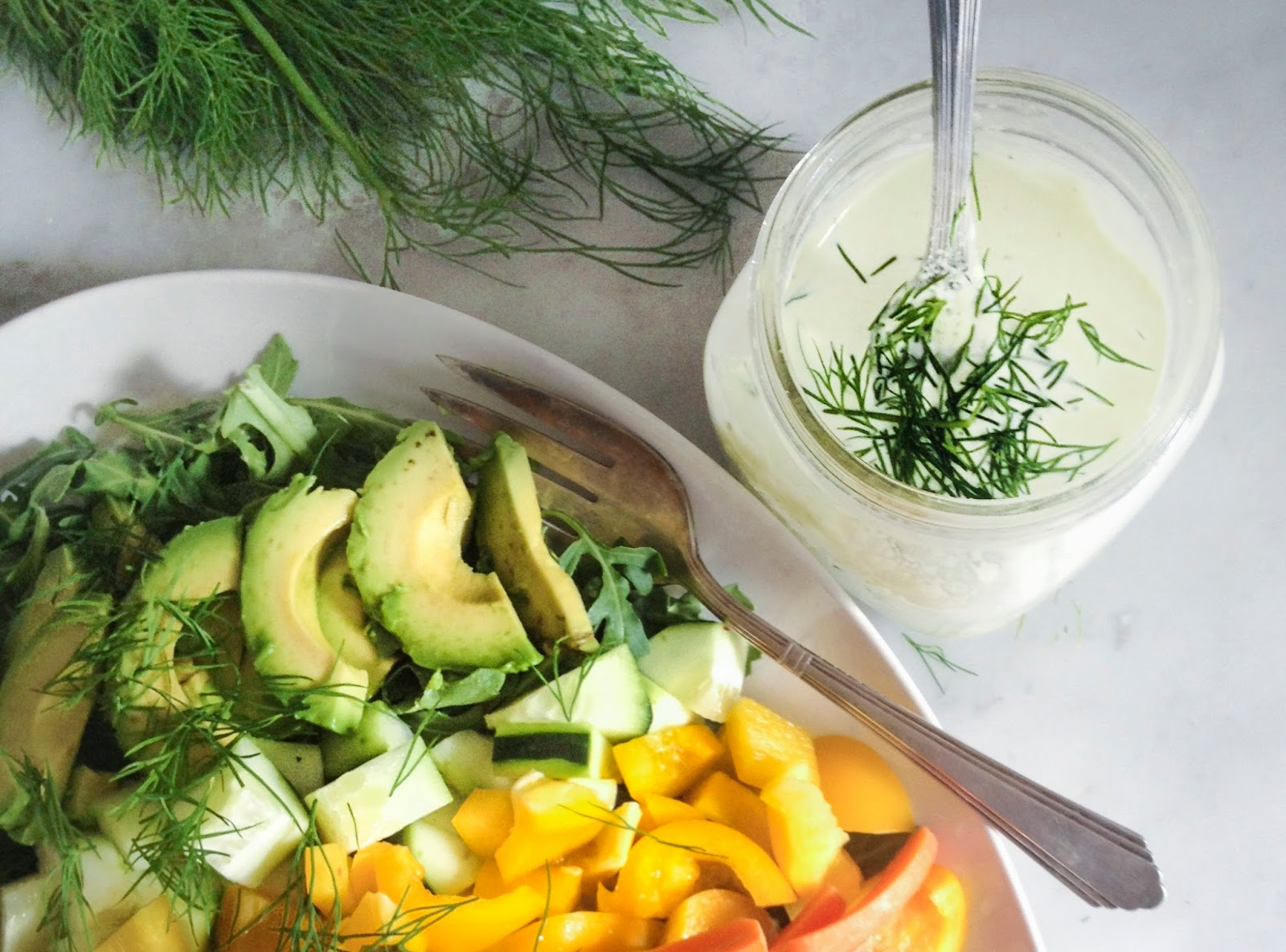 Rainbow Salad with Creamy Dill Dressing