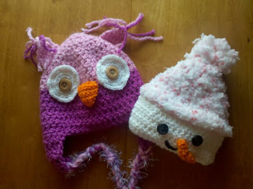 2-tone Pink Owl & Pink Snowgirl