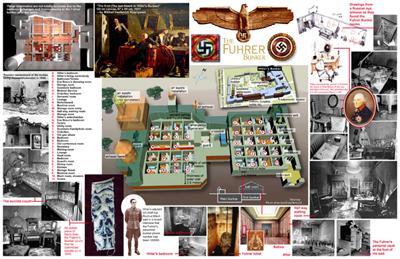 り、ただ握手を交わすのみであったという。ヒトラーとエヴァはヒトラーの居間に入り、リンゲ親衛隊少佐が扉の鍵を閉めた。午後3時40分、ゲッベルスらが居間に入るとソファの手前でエヴァ、奥にヒトラーが死んでいた。主治医シュトゥンプフエッガー親衛隊少将がヒトラー夫妻の検死を行い、死亡を確認した。  午後4時、総統官邸中庭に掘られた穴にヒトラー夫妻の遺体が置かれ、ガソリン180リットルを注いだ上でボルマンが点火を行って遺体は焼却された。ヒトラーがいなくなると地下壕には虚脱感が広まり、今までヒトラーに遠慮していた喫煙者はおおっぴらにタバコを吸い始めた。午後6時、ボルマンは新大統領に指名されたデーニッツに連絡を取り、大統領就任を伝えた。  5月1日、地下壕から参謀総長代理クレープス中将が脱出し、ソ連軍第8親衛軍司令官チュイコフ上級大将に停戦の申し入れを行った。クレープスはベルリン防衛軍の無条件降伏を条件とする一時停戦で合意したが、降伏を認めない首相ゲッベルスは拒否した。午後3時15分、ゲッベルスはデーニッツにヒトラーの死、そしてデーニッツによるヒトラーの死の公表を委任する電報を送った。午後5時頃、ゲッベルスの6人の子供達が青酸カリで毒殺された。午後6時半、ゲッベルスは最後の閣議を行い午後8時半にゲッベルスと夫人マグダは拳銃で自殺した。  ベルリン防衛軍司令官ヴァイトリング大将はソ連軍に降伏を申し入れ、その交渉の間に地下壕の人々は脱出することになった。クレープスと総統副官ブルクドルフ大将、ヘーグル中佐は地下壕で自決したが、残った地下壕の人々は10組に分かれて脱出した。  5月2日、ベルリン防衛軍は正式に降伏し、地下壕はソ連軍に占領された。 総統地下壕見取り図 総統地下壕ヒトラー居住エリアの見取 ヒトラーの寝室     ヒトラーの居間  戦後 総統地下壕跡の案内板  戦後ソ連や旧東ドイツ政府によって取り壊そうと試みられたが、あまりにも強固だったため完全に撤去することはできなかった。1990年代の大規模宅地開発の際にも掘り起こされたが、埋め戻されてしまっている。  ネオナチの聖地になる懸念から長年場所は非公開だったが、2006年6月8日に跡地に案内板が設置された。現在の跡地には駐車場などが存在する[1]。 Рейхсканцелярия (нем. Reichskanzlei) — традиционное название ведомства рейхсканцлера Германии с 1871 по 1945 год. Рейхсканцелярия располагалась в Берлине на Вильгельмштрассе 77, в бывшем дворце князя Антона Радзивилла. Имперская канцелярия обосновалась в этом здании в 1871 году по настоянию Бисмарка. Это учреждение прежде всего отвечало за связь рейхсканцлера с империей и государственным аппаратом.  В 1928—1930 годах была сооружена пристройка к зданию (спроектирована архитекторами Зидлером и Кишем).  В 1932—1933 годах дворец рейхсканцлера служил также временной служебной квартирой президента Германии Гинденбурга в связи с тем, что в это время квартира Гинденбурга во дворце президента Германии ремонтировалась.  В 1934—1935 годах в здании проведена реконструкция, созданы новые жилые и служебные помещения для Адольфа Гитлера. Новая рейхсканцелярия Здание новой рейхсканцелярии в 1939 году.  В 1938 году Гитлер поручил своему фавориту — архитек    Bavarian International School тору Альберту Шпееру спроектировать здание новой рейхск