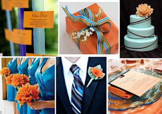 weddingbee orange and blue inspiration board
