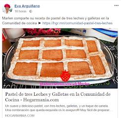 Eva Arquiñano publica en su página oficila mi Pastel de tres leches y galletas