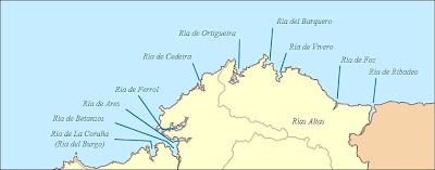 Mapa de las rias altas y costa de lugo, mariña lucense, alojamientos para alquilar en Galicia