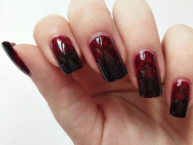 Baroque Gothic Dark Red Stamping Nails Nail Art Design Manicure