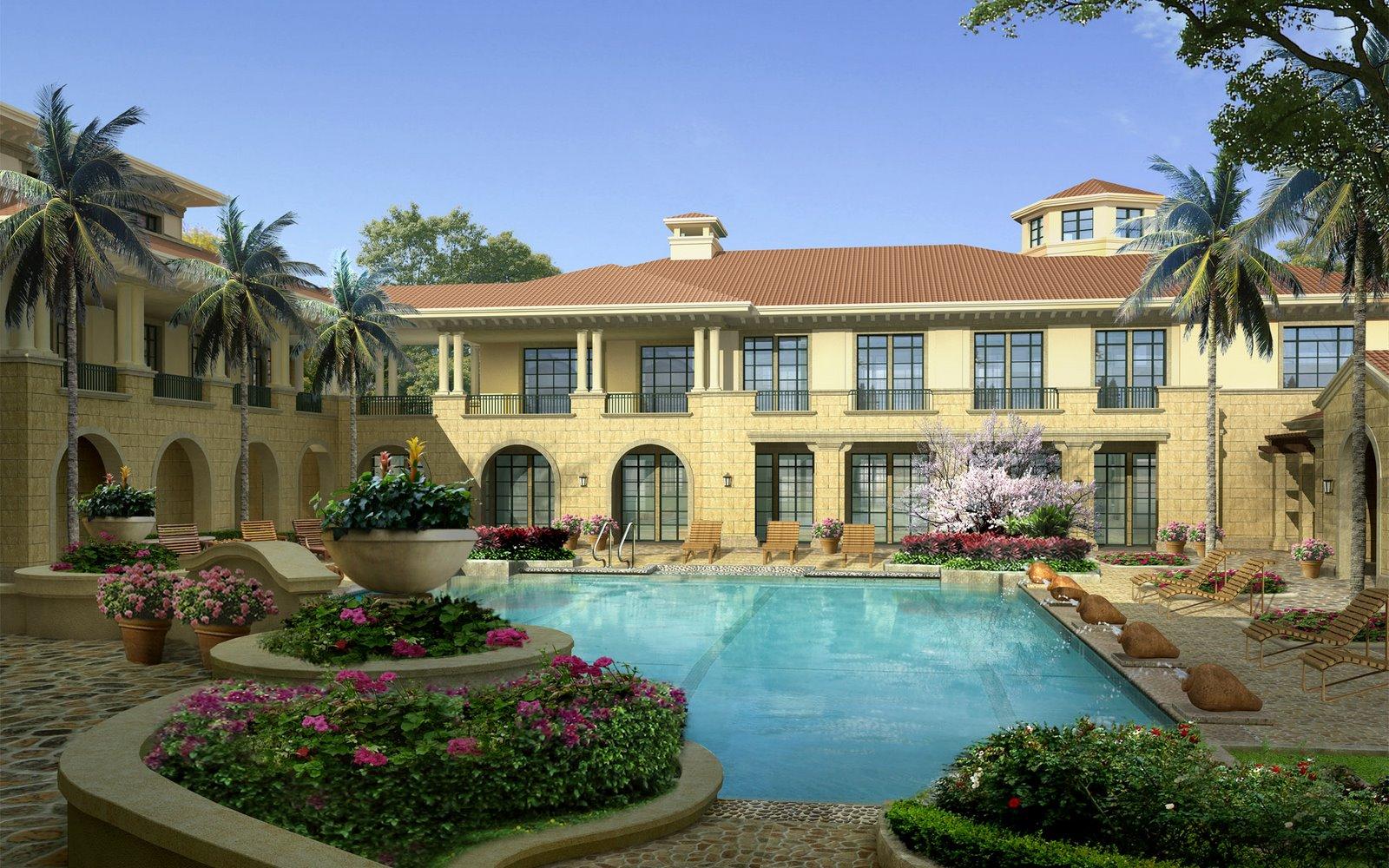 Banco de im genes casas lindas con jardines junto a r os for Sims 2 mansiones y jardines