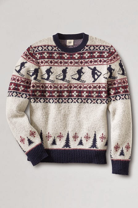 Lands'Ends Men's Scenic Fair Isle Crew Ugly Christmas Sweater Time ...