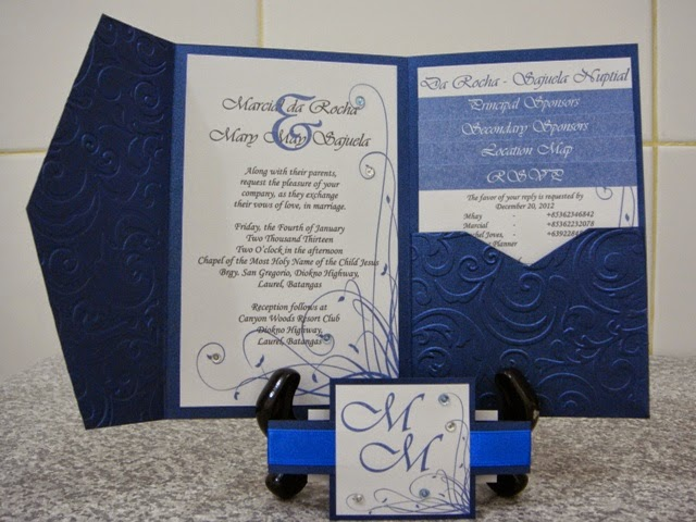 White And Royal Blue Classic Pocket Fold Wedding Invites